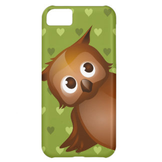 Cute Owl on Green Heart Pattern Background Case For iPhone 5C