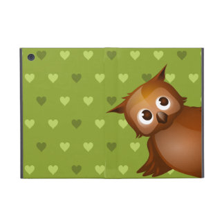 Cute Owl on Green Heart Pattern Background Case For iPad Mini