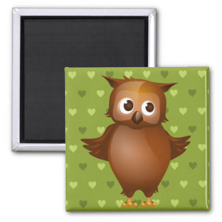 Cute Owl on Green Heart Pattern Background Magnet