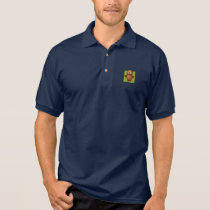 Cute Owl on Green Heart Pattern Background Polo Shirt