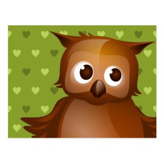 Cute Owl on Green Heart Pattern Background Postcard