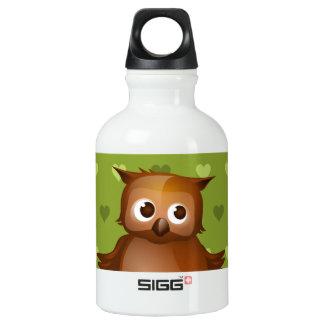 Cute Owl on Green Heart Pattern Background SIGG Traveler 0.3L Water Bottle