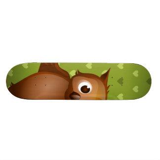 Cute Owl on Green Heart Pattern Background Skateboard Deck
