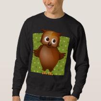 Cute Owl on Green Heart Pattern Background Sweatshirt