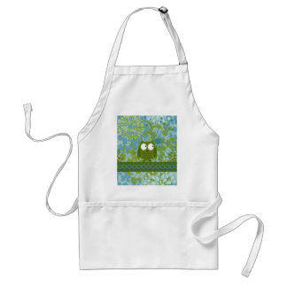 Cute Owl on Heart Ribbon with Floral Pattern Adult Apron