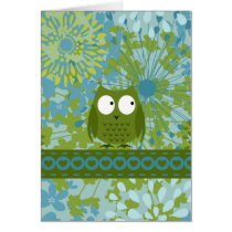 Cute Owl on Heart Ribbon with Floral Pattern Card