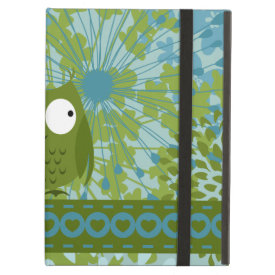 Cute Owl on Heart Ribbon with Floral Pattern iPad Folio Case