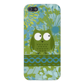 Cute Owl on Heart Ribbon with Floral Pattern Covers For iPhone 5