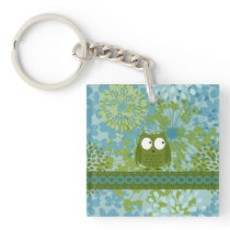 Cute Owl on Heart Ribbon with Floral Pattern Keychain
