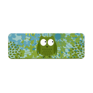 Cute Owl on Heart Ribbon with Floral Pattern Return Address Labels
