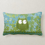 Cute Owl on Heart Ribbon with Floral Pattern Pillow
