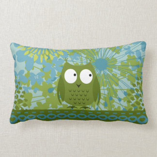 Cute Owl on Heart Ribbon with Floral Pattern Throw Pillows