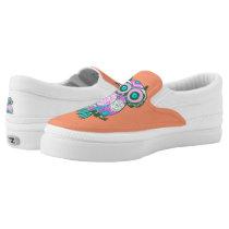 Cute Owl-on Orange Zipz Slip On-Shoes US-Women Slip-On Sneakers