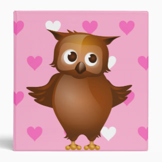 Cute Owl on Pink Heart Pattern Background 3 Ring Binder