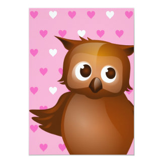 Cute Owl on Pink Heart Pattern Background 5x7 Paper Invitation Card