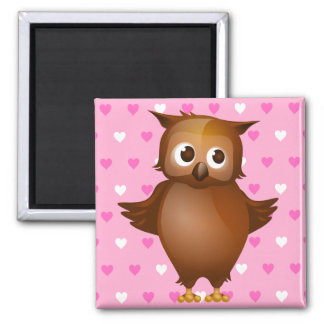 Cute Owl on Pink Heart Pattern Background Magnet