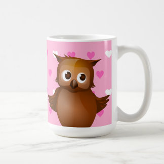 Cute Owl on Pink Heart Pattern Background Mugs