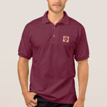 Cute Owl on Pink Heart Pattern Background Polo Shirt