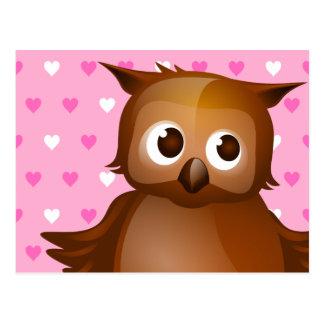 Cute Owl on Pink Heart Pattern Background Postcard