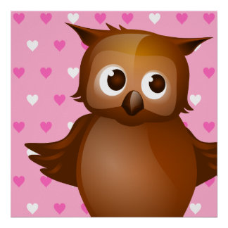 Cute Owl on Pink Heart Pattern Background Poster