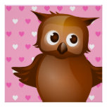 Cute Owl on Pink Heart Pattern Background Posters