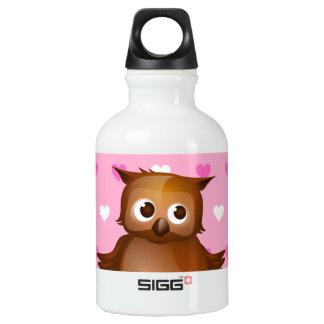 Cute Owl on Pink Heart Pattern Background SIGG Traveler 0.3L Water Bottle