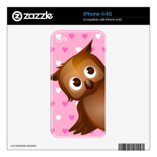 Cute Owl on Pink Heart Pattern Background Decals For The iPhone 4S