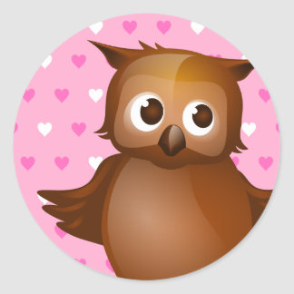 Cute Owl on Pink Heart Pattern Background Classic Round Sticker