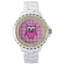 Cute Owl on Plaid - Rhinestone Watch
