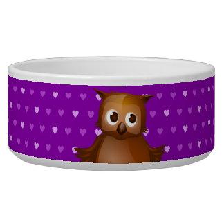 Cute Owl on Purple Heart Pattern Background Bowl