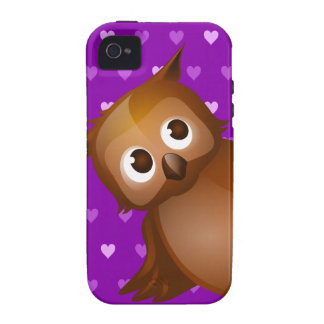 Cute Owl on Purple Heart Pattern Background Case For The iPhone 4