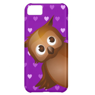Cute Owl on Purple Heart Pattern Background iPhone 5C Covers