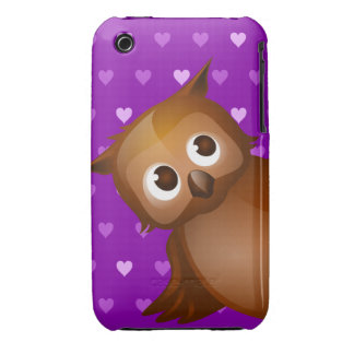 Cute Owl on Purple Heart Pattern Background iPhone 3 Cases