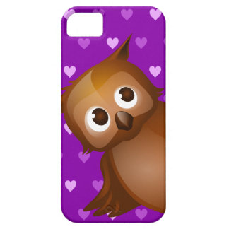 Cute Owl on Purple Heart Pattern Background iPhone 5 Covers