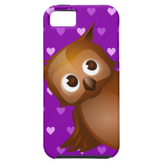 Cute Owl on Purple Heart Pattern Background iPhone 5 Cover