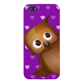 Cute Owl on Purple Heart Pattern Background Cover For iPhone 5