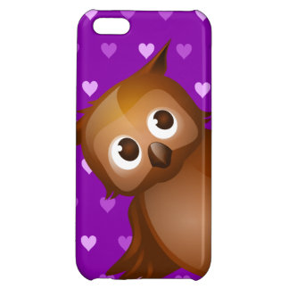 Cute Owl on Purple Heart Pattern Background Case For iPhone 5C