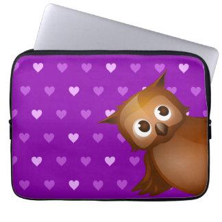 Cute Owl on Purple Heart Pattern Background Laptop Sleeves