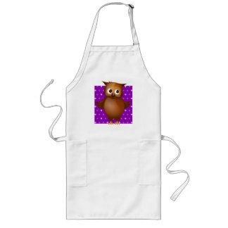 Cute Owl on Purple Heart Pattern Background Long Apron