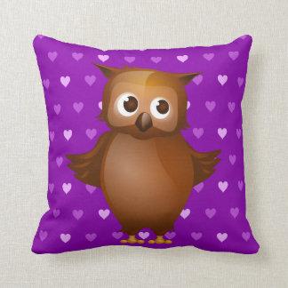 Cute Owl on Purple Heart Pattern Background Pillow