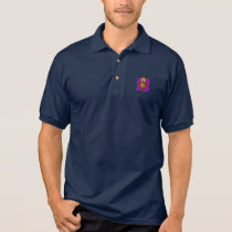 Cute Owl on Purple Heart Pattern Background Polo Shirt