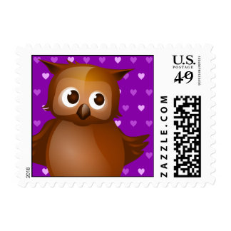 Cute Owl on Purple Heart Pattern Background Postage Stamp