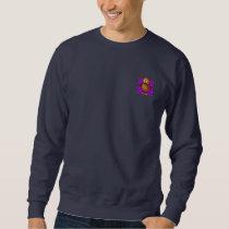 Cute Owl on Purple Heart Pattern Background Sweatshirt