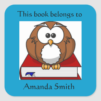 Cute Owl on Red Book Bookplate