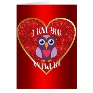 Cute Owl on Red Heart Valentine's Day