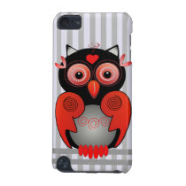 Cute Owl on Striped background iPod touch case