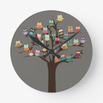Cute Owl On Tree | Background Round Clock