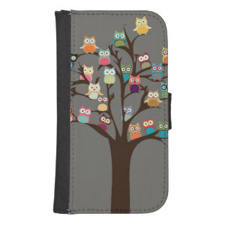 Cute Owl On Tree | Background Wallet Phone Case For Samsung Galaxy S4