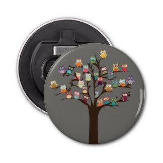 Cute Owl On Tree | Background Button Bottle Opener
