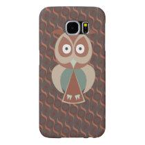 Cute owl on wavy background samsung galaxy s6 case